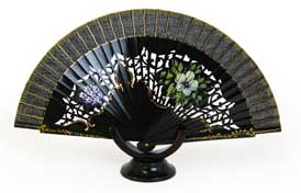 Wood 'Abanico' Fan - Black with Flowers