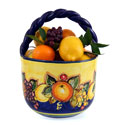 Hand Made Blue-Fruit Style Ceramic Basket - ALC-CA-FRA