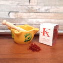 Certified Origin La Mancha Saffron D.O. Jar with Hand Painted Mortar and Pestle AZ013