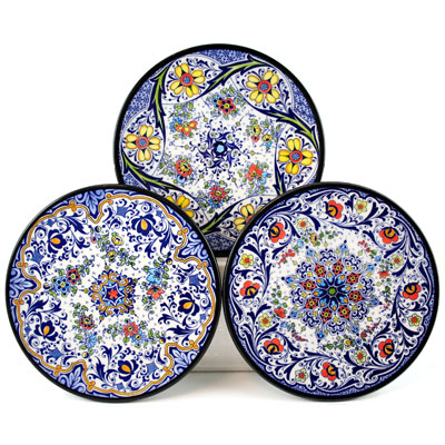 Decorative Hand Painted Plates - Set of 3 - CER-AZAHARA-18S3  sc 1 st  HotPaella.com : spanish dinner plates - pezcame.com
