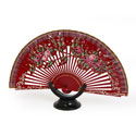 Abanico Hand Made Wood Fan - FN-GUZ-127-Burdeos