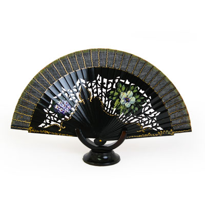 Abanico Hand Made Wood Fan - FN-GUZ-150-Black
