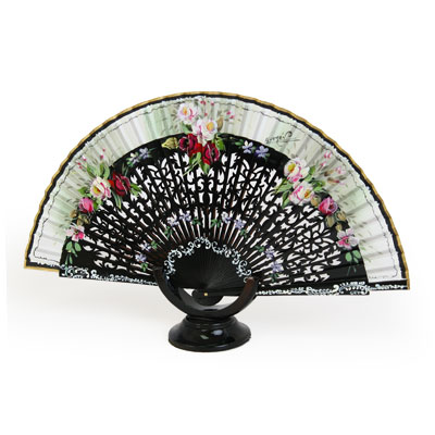 Abanico Hand Made Wood Fan - FN-GUZ-281-Black