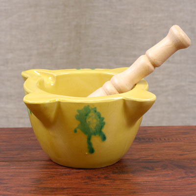Hand Painted Mortar and Pestle - Yellow - Large - MORTERO-002