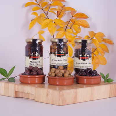 Olive Trio - Marinated Black Olives, Aragon, Arbequina OL042-S3