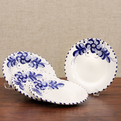 Hand Painted Plate Set of 4 - Round ROM-708-GNA-S4