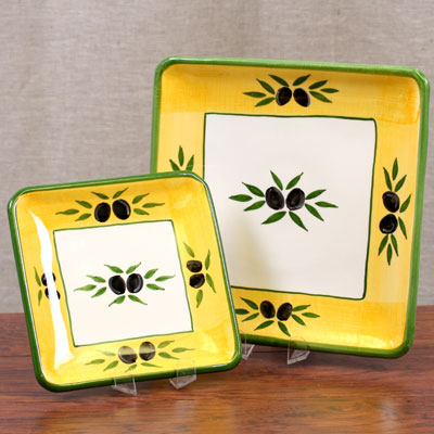 Hand Painted Plate Set of 2 - Square - ROM-698-2,3-OLI