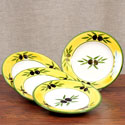 Hand Painted Plate Set of 4 - Round - ROM-708-OLI-S4