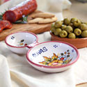 Hand Painted Olive Serving Dish - Red - TAL-OLIVA-FR